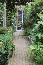 het pad naar de praktijkruimte achter in de tuin