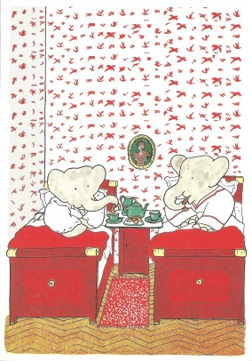 ontbijt op bed,olifantjes-kaart